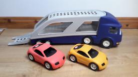 LITTLE TIKES CAR TRANSPORTER & 2 CARS