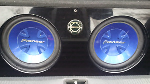 "2x 12"" Pioneer subs, Bassworx box, and MTX amp"