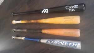 Mixture of Bats for sale 3 wood, 1 aluminum