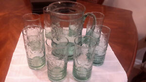 Vintage Juice Pitcher and 8 Matching Glasses
