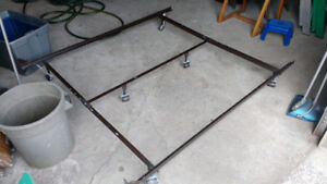 Queen size metal bed frame with wooden headboard - $40