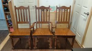 3 solid wood chais for just $20, we need to sell them asap!