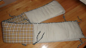 Crib bumper pad - safari and gingham