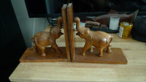 Pair of Vintage Carved Wood Wooden Elephant Bookends