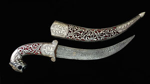 Excellent indian mughal silver dagger damascus blade....