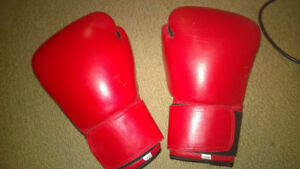 Red leather boxing gloves - 12 Oz