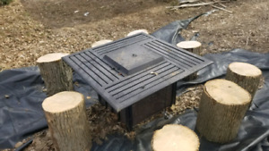 Propane firepit with 9 log seats