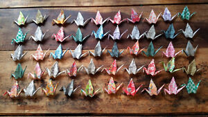 Hand folded Origami Cranes for garland, or ornaments London Ontario image 2
