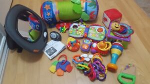 Brica rear seat car mirror, tummy time pillow and toys