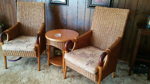 solid wood chairs with end table