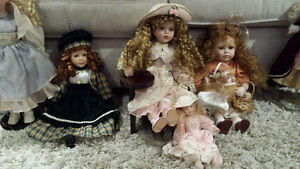 Ceramic dolls and 2 barbies