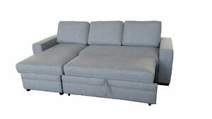 BRAND NEW REAL LEATHER / FABRIC SOFA BED WITH STORAGE