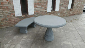 Concrete Patio Table with Bench