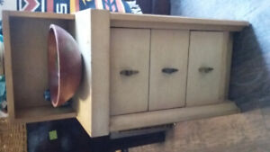 art deco 3 drawer side table or dresser white oak.