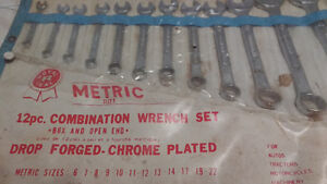 Metric 12 pc combination wrench set 6 7 8 9 10 11 12 13 14 17 19