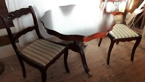 Cherry wood table & 2 chairs