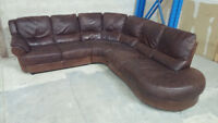 (Free Delivery) - Brown real leather 3-piece Sectional Sofa