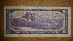 1954 10$ BILL IN GOOD CONDITION FOR THE YEAR ONLY 25$........... London Ontario image 2