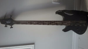 Left Handed Bass Guitar w amplifier, case, 2 amp cables