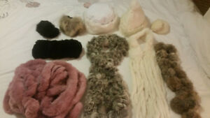 Real fur accessories. Scarfs, hats, ear muffs