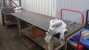 Metal top bench with vice attached