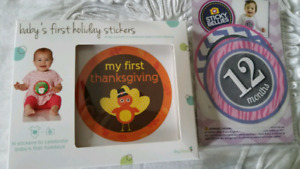 Baby's first holiday stickers and girls Sticky Bellies