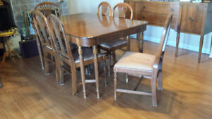 Antique table,chairs and hutches