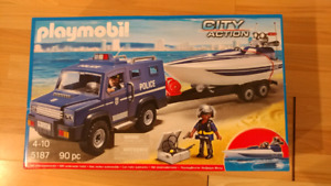 Playmobile police truck and boat set