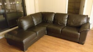 Black Sectional Real Leather Sofa MUST GO