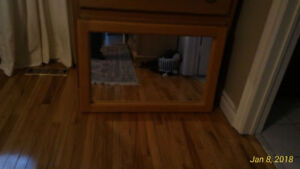 Solid oak framed mirror and bed side table  made in Canada