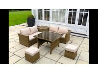 Rattan Garden or Conservatory Table With Glass Top BRAND NEW