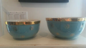Pair Retro Aqua Blue & Gold HALL's Kitchen Mixing Bowls