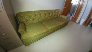 Beautiful vintage green couch and chair