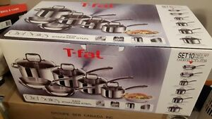 New 10 PC T Fal Stainless Steal Pots And Pans