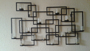 Large metal candle holder and large framed picture