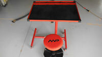 Like new Rolling tool cart & stool both with height adjustment