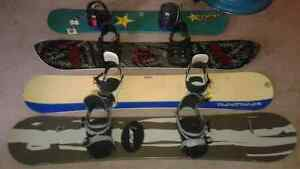4 snowboards size 160, 157, 157, 137 exelent condition