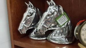 Vintage Hoselton Horse Bookends Aluminum Signed Sculpture