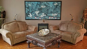 Contents of House for sale. Art, Love Seats, Dining Table +