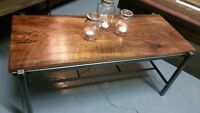 INDUSTRIAL COFFEE AND END TABLES, RECLAIMED BARNBOARD TOPS