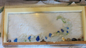 """Wave"" beach glass art on a repurposed window by Deb Humen"