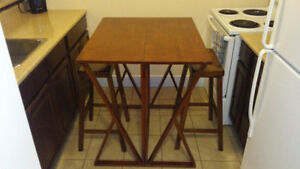 Drop Leaf Counter Height Table and 2 Bar Stools