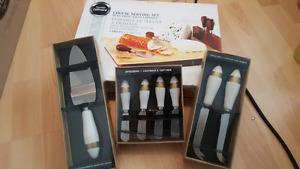 Cheese serving set, cheese knives, spreaders & cake server