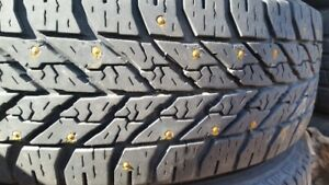 "A set of 4-175/70/14"" Goodyear.Winter,Studded tires on rims"
