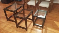 3 ikea glass-top side tables