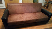 Two tone brown leather couch