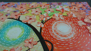 CherryBlossom3D Flowers Painting on Textured Abstract Background London Ontario image 4