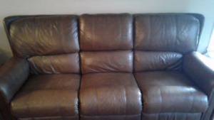 Leather recliner couch and love