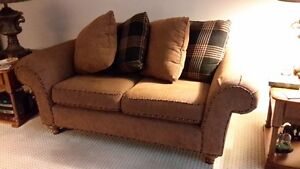 FURNITURE- WINGBACK CHAIR, LOVESEAT, END TABLES, CARD TABLE/CHA