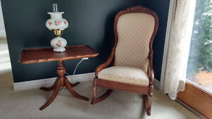 Victorian lady's rocker and Gibbard tilt top table